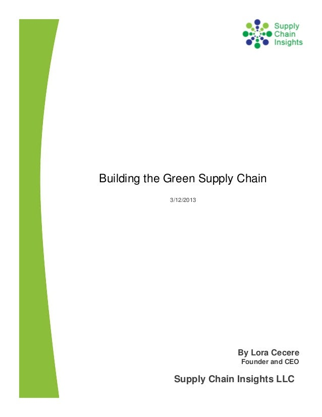 Building the Green Supply Chain - 12 MAR 2013