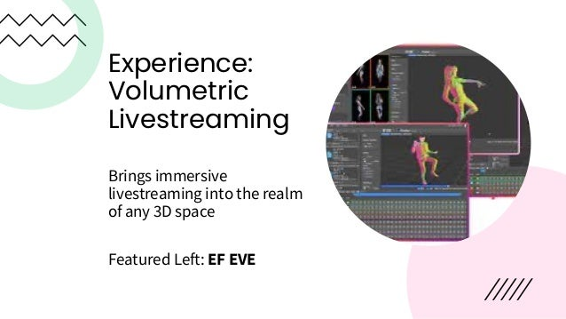 Experiences – Live Music • Transport fans into virtual concerts • Add unique, immersive effects to the experience • Allow ...
