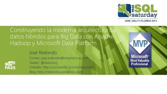 Construyendo la moderna arquitectura de datos híbridos para Big Data con Apache Hadoop y Microsoft Data Platform José Redo...