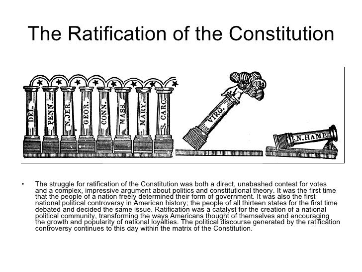 essays that generate support for constitutional ratification (2) when actual rating begins, each rater should record his or her individual rating for a student's essay on score of 1: • states an argument john jay used in the federalist, number 4, to support ratification of the constitution examples: foreign nations will respect a firmly united nation foreign nations.