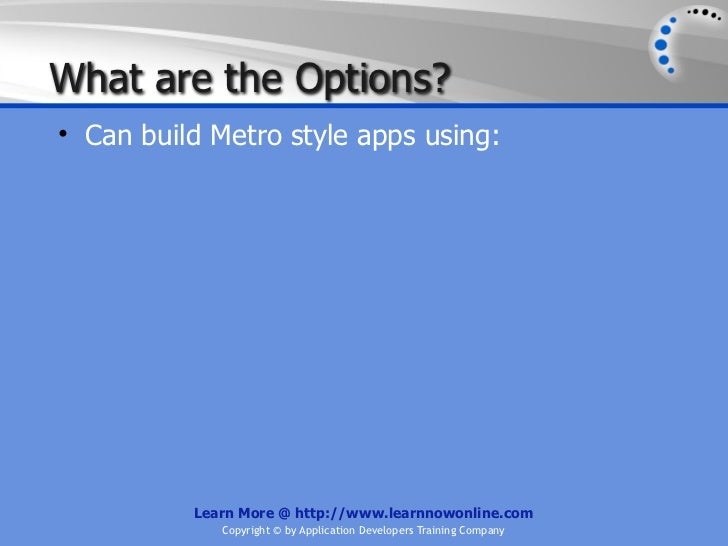 Building Windows 8 Metro Style Applications Using