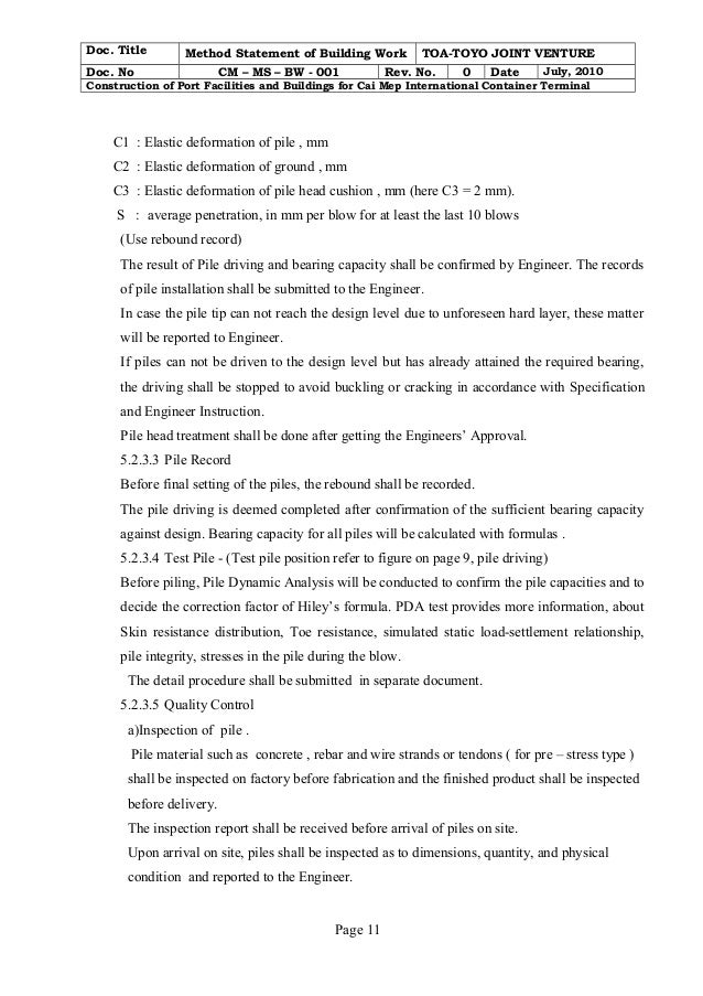 Building construction method statement example