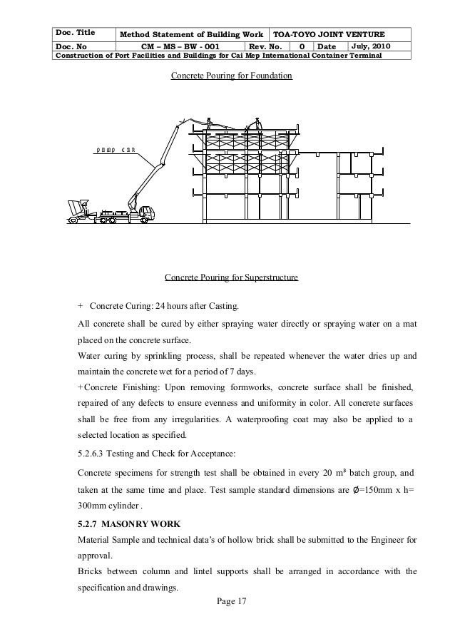 Building work method statement cm - ms- bw - 001