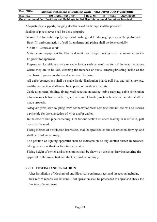 Page 22; 23. Doc. Title Method Statement ...  Method Of Statement Sample