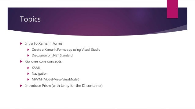 Building xamarin forms apps with prism and mvvm