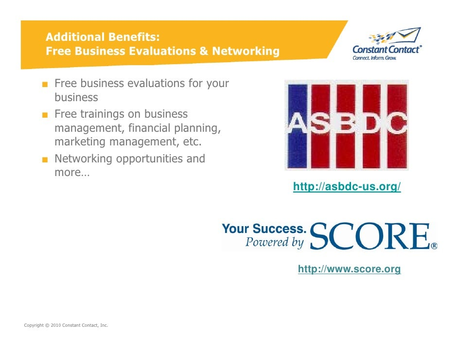 Additional Benefits:          Free Business Evaluations & Networking          ■ Free business evaluations for your        ...