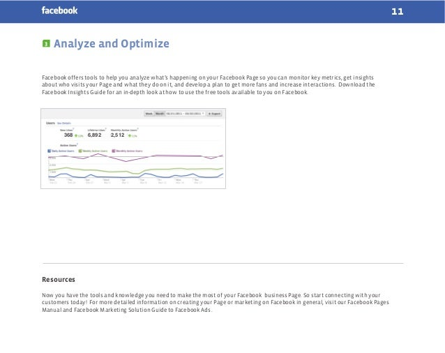 11 3  Analyze and Optimize  Facebook offers tools to help you analyze what's happening on your Facebook Page so you can mo...