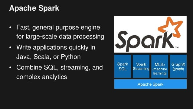Apache Spark • Fast, general purpose engine for large-scale data processing • Write applications quickly in Java, Scala, o...