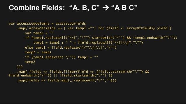 """Combine Fields: """"A, B, C""""  """"A B C"""" var accessLogColumns = accessLogFields .map( arrayOfFields => { var temp1 =""""""""; for (fi..."""