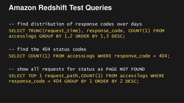 Amazon Redshift Test Queries -- find distribution of response codes over days SELECT TRUNC(request_time), response_code, C...