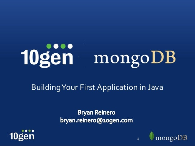 Building Your First Application in Java                               1