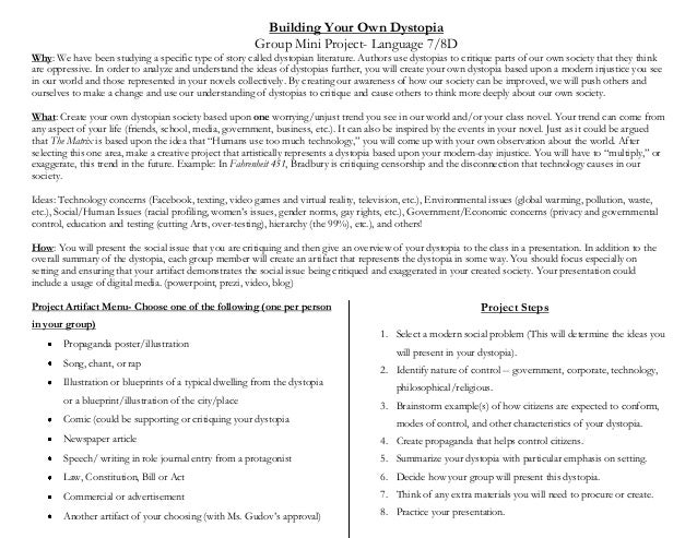 Dystopian Society Project -- Create a Dystopia