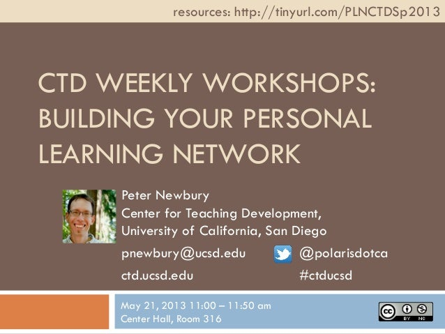 CTD WEEKLY WORKSHOPS:BUILDING YOUR PERSONALLEARNING NETWORKPeter NewburyCenter for Teaching Development,University of Cali...