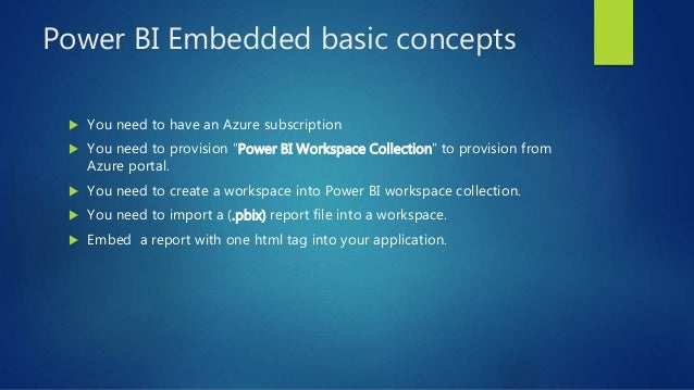 """Power BI Embedded basic concepts  You need to have an Azure subscription  You need to provision """"Power BI Workspace Coll..."""