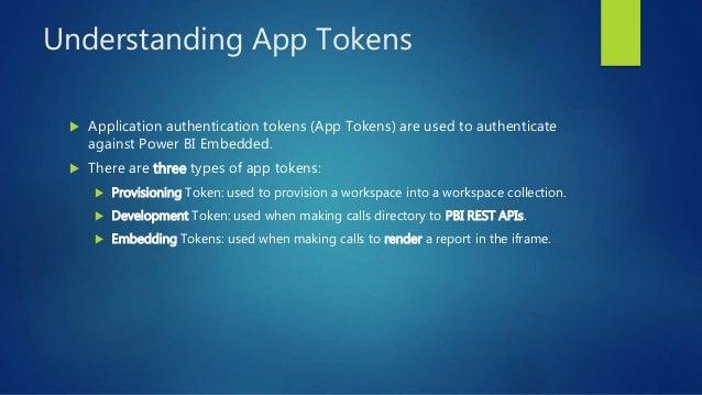 Understanding App Tokens  Application authentication tokens (App Tokens) are used to authenticate against Power BI Embedd...