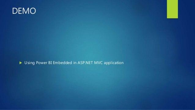 DEMO  Using Power BI Embedded in ASP.NET MVC application