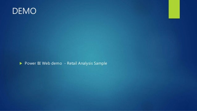 DEMO  Power BI Web demo - Retail Analysis Sample