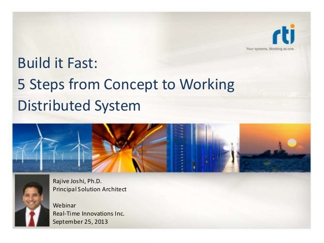 RTI QuickStart Training Build it Fast: 5 Steps from Concept to Working Distributed System Rajive Joshi, Ph.D. Principal So...