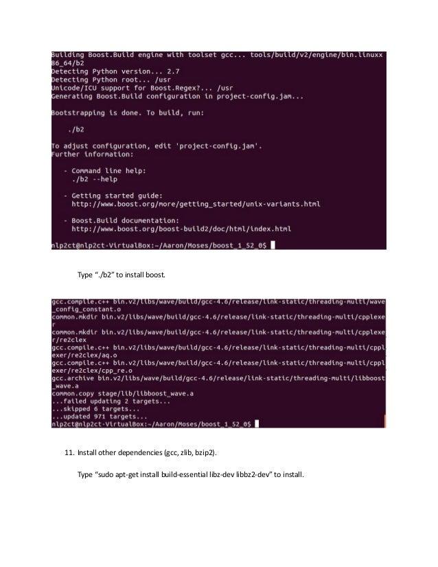 Build Moses on Ubuntu (64-bit) in VirtualBox: recorded by Aaron