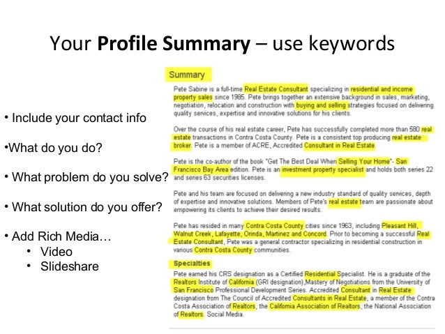 specialty keywords 19 your profile summary - Real Estate Profile Summary