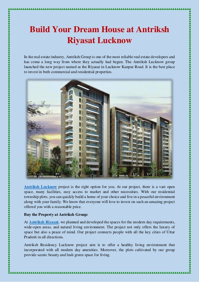 Build Your Dream House At Antriksh Riyasat Lucknow In The Real Estate  Industry, Antriksh Group