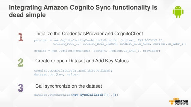 Integrating Amazon Cognito Sync functionality is dead simple Initialize the CredentialsProvider and CognitoClient Call syn...