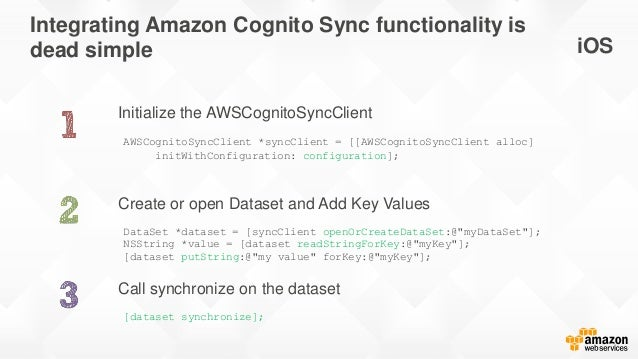 Integrating Amazon Cognito Sync functionality is dead simple Initialize the AWSCognitoSyncClient Call synchronize on the d...
