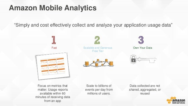 Amazon Mobile Analytics Scalable and Generous Free Tier Focus on metrics that matter. Usage reports available within 60 mi...