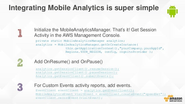 Integrating Mobile Analytics is super simple Initialize the MobileAnalyticsManager. That's it! Get Session Activity in the...