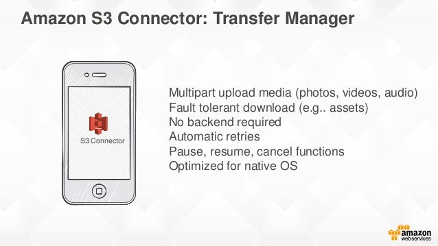 Amazon S3 Connector: Transfer Manager in iOS // Creating the transfer manager self.transferManager = [S3TransferManager ne...