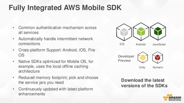 Authenticate users Authorize access Analyze User Behavior Store and share media Synchronize data AWS Mobile SDK Amazon Mob...