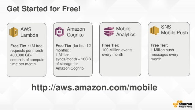 Simple and predictable pay as you go pricing Amazon Cognito Amazon Mobile Analytics Amazon SNS Mobile Push Free Tier: 1 Mi...