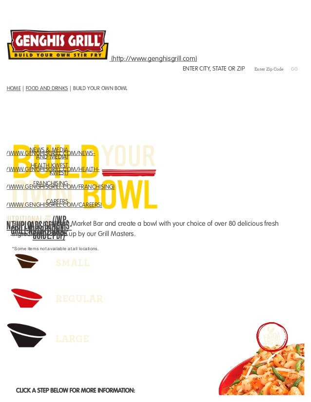 Build Your Own Bowl Restaurant Genghis Grill