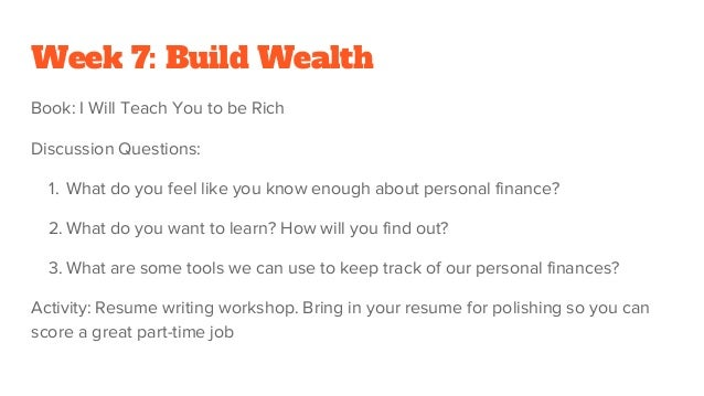 Build yourself Teen Program Outline