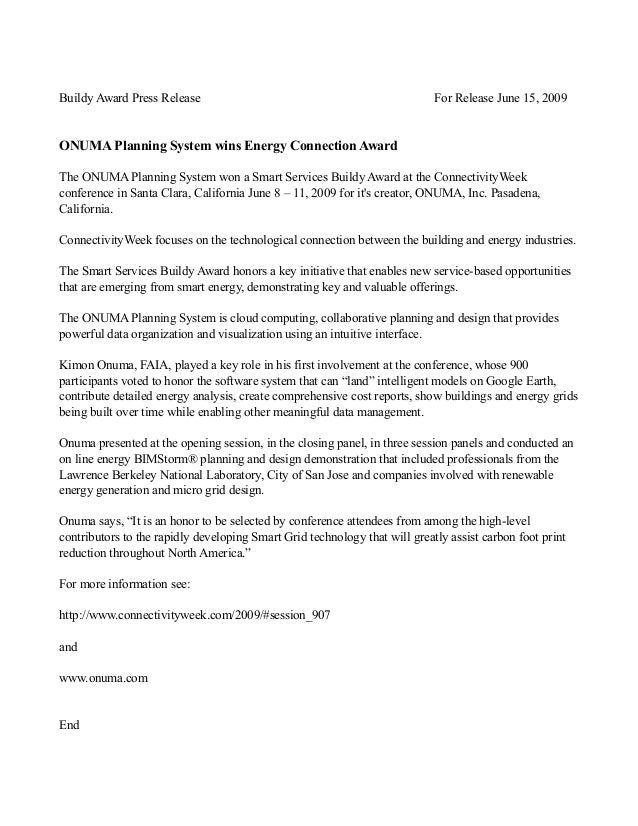 Buildy Award Press Release For Release June 15, 2009 ONUMA Planning System wins Energy Connection Award The ONUMA Planning...