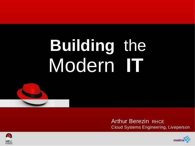 Building theModern IT       Arthur Berezin    RHCE       Cloud Systems Engineering, Liveperson