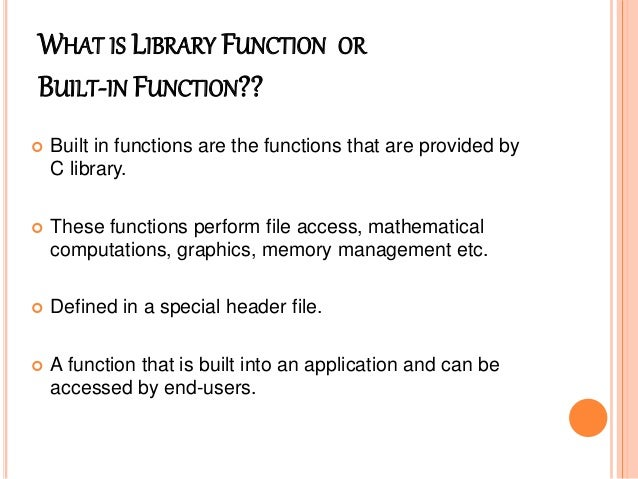 C library functions