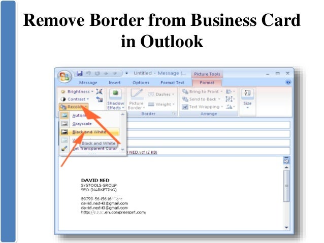 Create business card in microsoft outlook 12 colourmoves