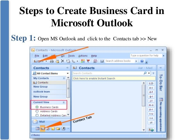 Create business card in microsoft outlook 6 steps to create business card in microsoft outlook colourmoves