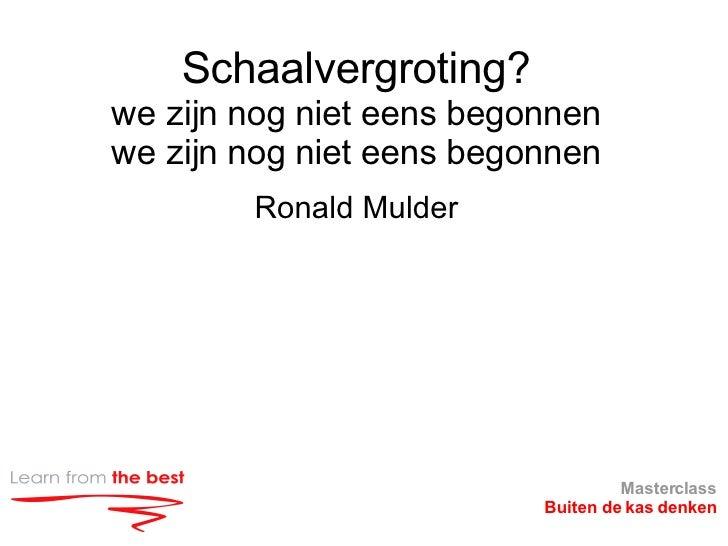 Schaalvergroting? we zijn nog niet eens begonnen we zijn nog niet eens begonnen <ul><li>Ronald Mulder </li></ul>Masterclas...