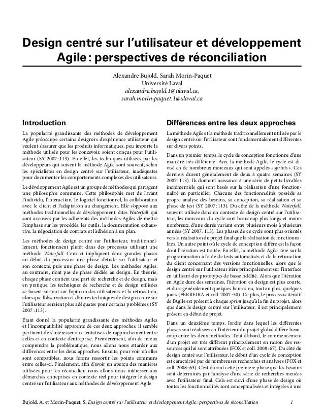 Bujold, A. et Morin-Paquet, S. Design centré sur l'utilisateur et développement Agile: perspectives de réconciliation  ...
