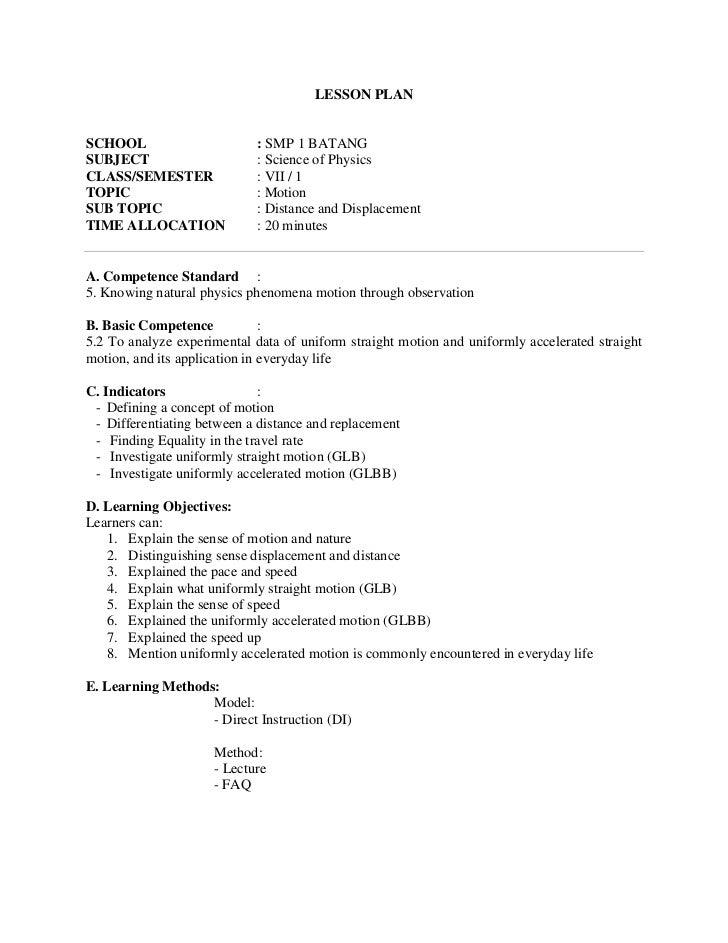 LESSON PLANSCHOOL                      : SMP 1 BATANGSUBJECT                     : Science of PhysicsCLASS/SEMESTER       ...