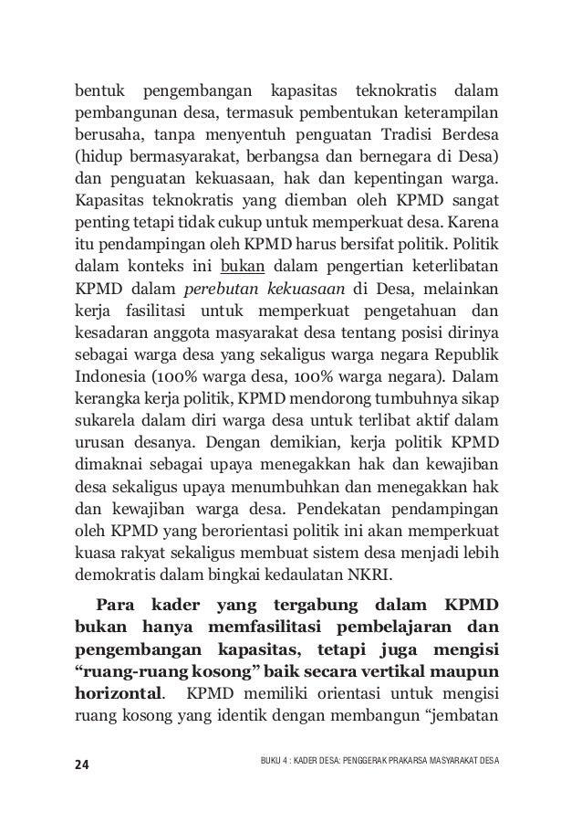 """25BUKU 4 : KADER DESA: PENGGERAK PRAKARSA MASYARAKAT DESA sosial"""" (social bridging) dan jembatan politik (political bridgi..."""