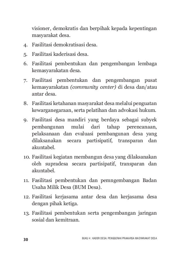 31BUKU 4 : KADER DESA: PENGGERAK PRAKARSA MASYARAKAT DESA Matriks 4. Adaptasi Pelaku Pendampingan Desa (Berbasis Project) ...