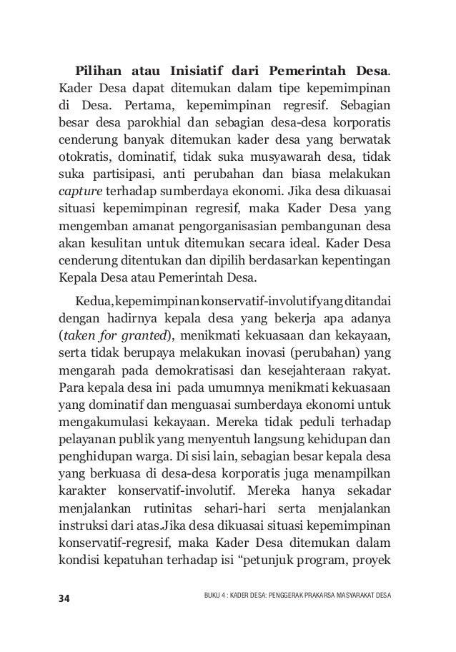 """35BUKU 4 : KADER DESA: PENGGERAK PRAKARSA MASYARAKAT DESA dan kegiatan"""". Kader Desa yang taat instruksi dan berwatak kerja..."""
