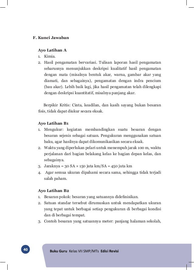 Kunci Jawaban Ipa Kelas 7 Kurikulum 2013 Edisi Revisi 2016 Semester 1 Bab 4 Key