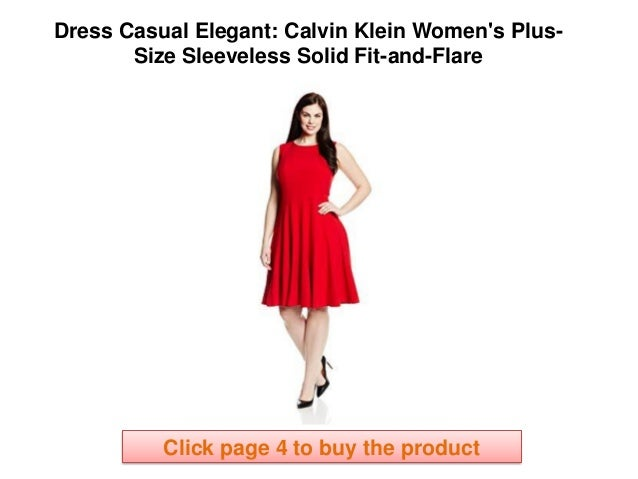 3c3a49dda140f7 Calvin Klein Women s Plus-Size Sleeveless Solid Fit-and-Flare casual  elegant dress code