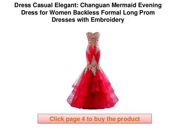 Changuan Mermaid Evening Dress For Women Backless Formal Long Prom Dr