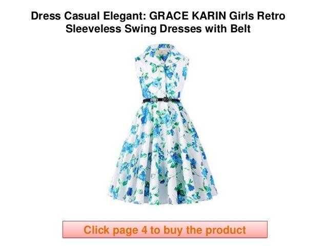 GRACE KARIN Girls Retro Sleeveless Swing Dresses with Belt casual ele…