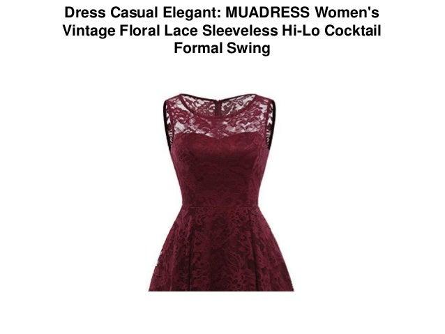 b3335d5f6b7c3e Dress Casual Elegant  MUADRESS Women s Vintage Floral Lace Sleeveless Hi-Lo  Cocktail ...